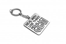"""Keychain """"Real Men use three pedals"""" - (type STEEL)"""