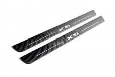Plastic door sills for BMW X5 E70 2006-2013 - (type CARBON)