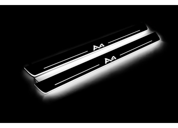 Led door sills Audi A4 B8 2008-2015 (front doors) with logo A4 - (type STATIC)