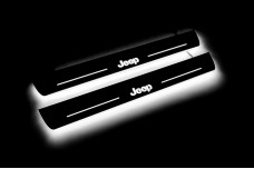 """Led door sills Jeep Grand Cherokee IV 2010-2021 with logo """"Jeep"""" (front sills) - (type STATIC)"""