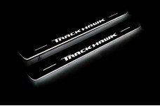 """Led door sills Jeep Grand Cherokee IV 2010-2021 with logo """"TrackHawk"""" (front sills) - (type STATIC)"""