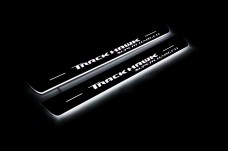 """Led door sills Jeep Grand Cherokee IV 2010-2021 with logo """"TrackHawk Supercharged""""  (front sills) - (type STATIC)"""