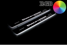 """Led door sills Jeep Grand Cherokee IV 2010-2021 with logo """"TrackHawk Supercharged"""" (front doors) - (type RGB)"""