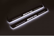 Led door sills Mercedes C W204 2007-2014  (front doors) with logo AMG - (type STATIC)