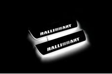 Led door sills Mitsubishi Lancer X 2007+ with logo RalliArt (rear doors) - (type STATIC)