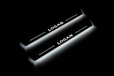 Led door sills Renault Logan II 2013+ (front doors) - (type STATIC)