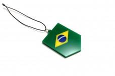 Car mirror pendant with flag of Brasil