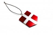 Car mirror pendant with flag of Denmark