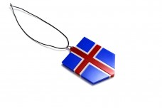 Car mirror pendant with flag of Iceland